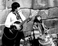 """Cusco Buskers""-Siblings perform for tourists. Cusco, Peru Dec. '15"
